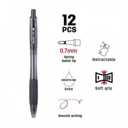 Deli Q005 Retractable Ball Pen Needle Tip (12s)