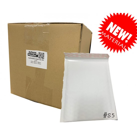 S5 Size White Kraft Bubble Mailer (Wholesale)