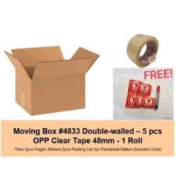 [Bundle] Moving Carton Box #4833 + OPP Clear Tape 48mm + Free Gifts