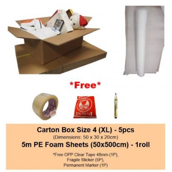 [Bundle] Moving Carton Box Size 4 + OPP Clear Tape 48mm + Free Gifts