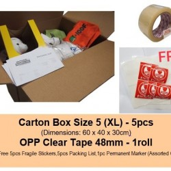 [Bundle] Moving Carton Box Size 5 + OPP Clear Tape 48mm + Free Gifts