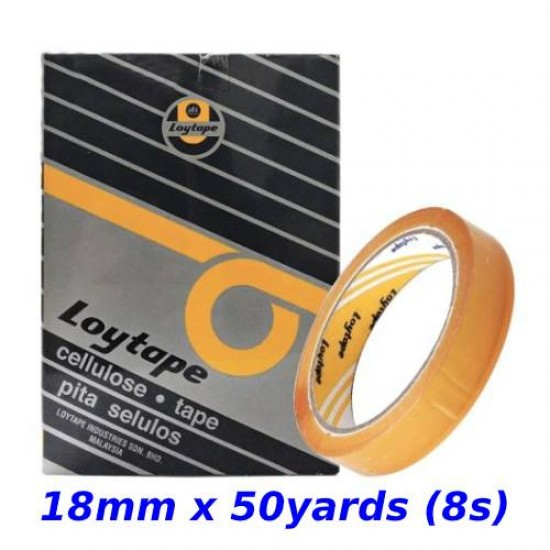 Loytape Cellulose Tape 18mm x 50yards (8s)