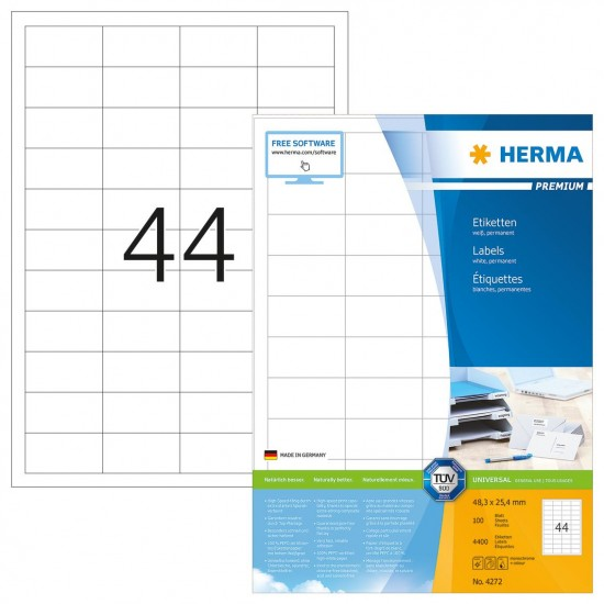 Herma 4272 Superprint 48.3X25.4 (4400s) Wht