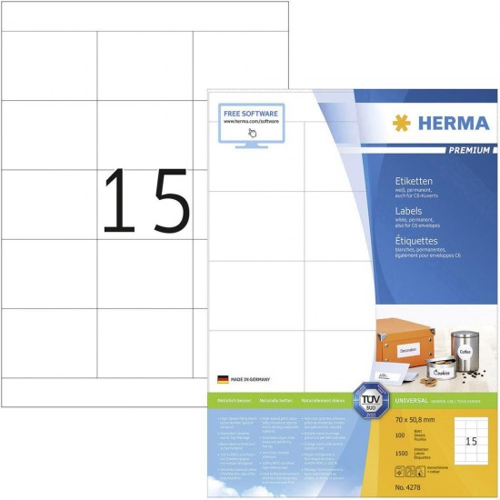 Herma 4278 Superprint 70 X 50,8 (1500s) Wht