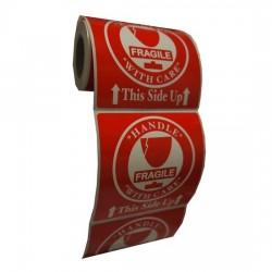 TPS Fragile Sticker 76mm x 76mm (90 Pieces)