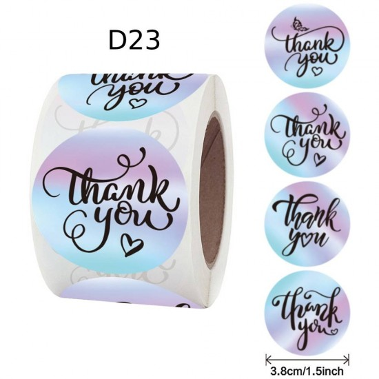 Medium Size Thank You Round Stickers Dia. 38mm