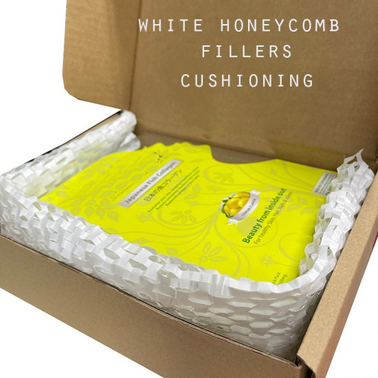 Eco-Friendly Kraft White Honeycomb Wrapping Paper Void Filler / Cushioning & Filler [5m]