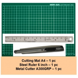 [Bundle] Cutting Mat A4 - Metal Cutter - Metal Ruler