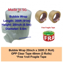 [Bundle] Bubble Wrap 20inch x 300ft | OPP Clear Tape 48mm | Free Fragile Tape