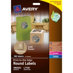 Avery® Brown Kraft Round Labels-L7106-15