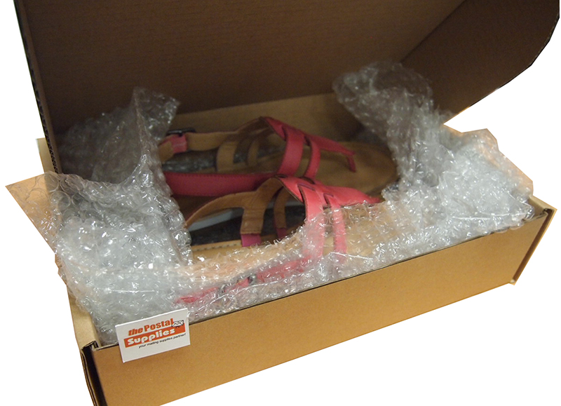 Sandals in apparel box with bubble wrap