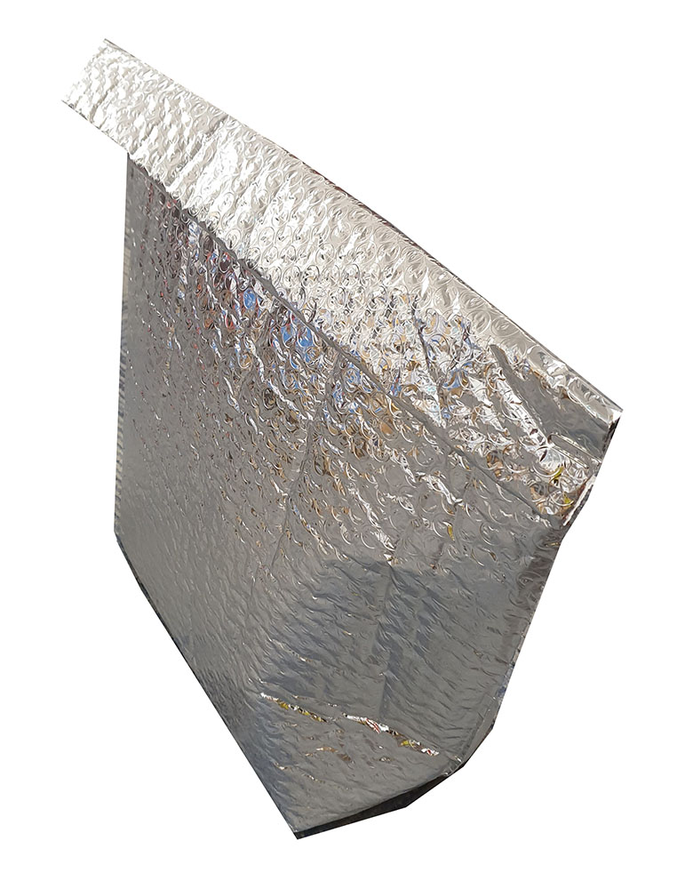 Thermal Insulated Metallic Silver Bubble Bags For Food Products with Base